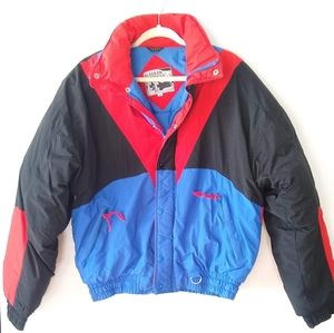 VINTAGE retro primary colors Colorblock ski coat